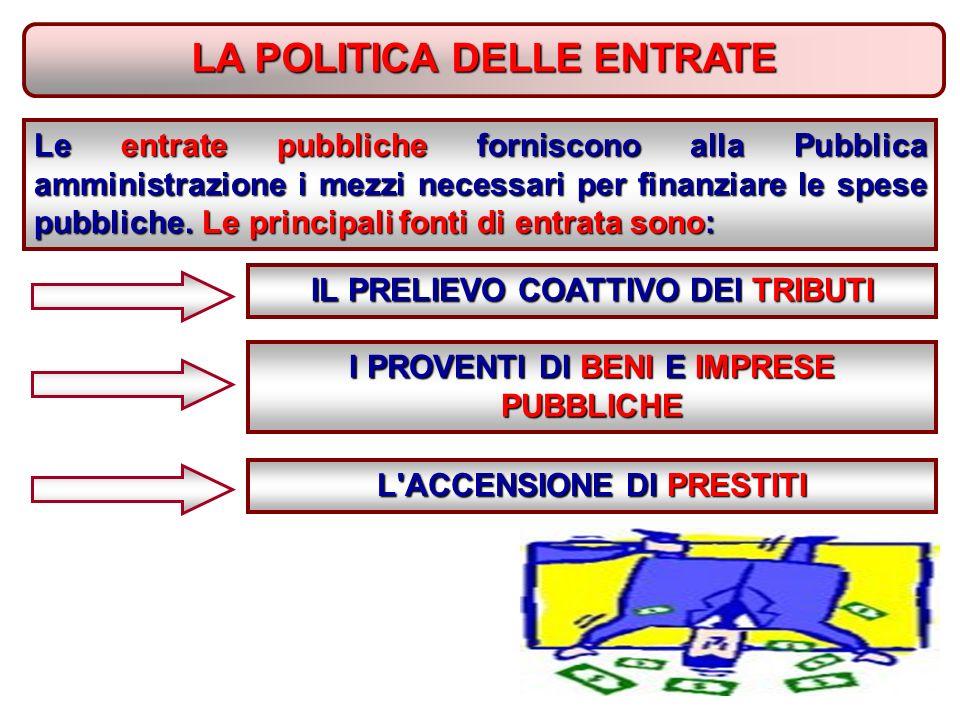 LA POLITICA DELLE ENTRATE Le entrate pubbliche forniscono alla Pubblica amministrazione i mezzi necessari per finanziare le spese pubbliche.