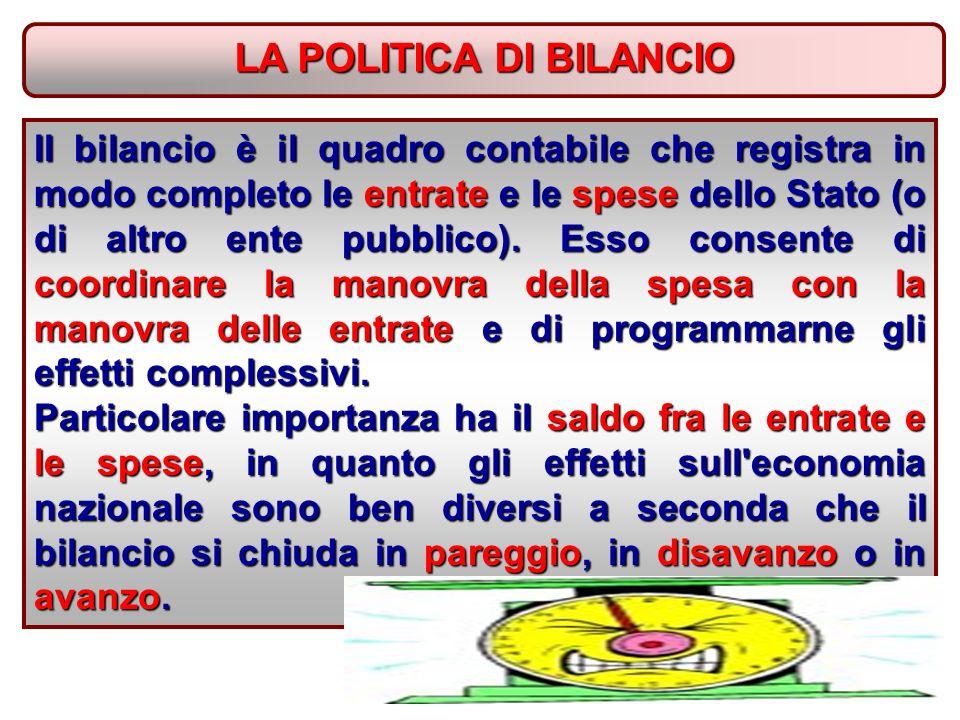 LA POLITICA DI BILANCIO II bilancio è il quadro contabile che registra in modo completo le entrate e le spese dello Stato (o di altro ente pubblico).