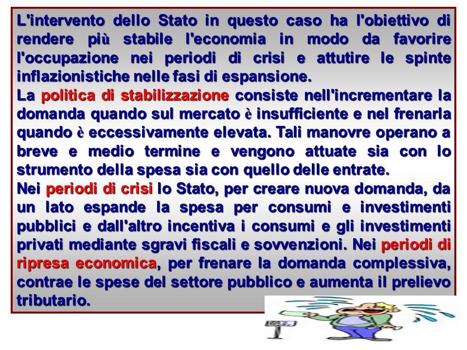 L intervento dello Stato in questo caso ha l obiettivo di rendere pi ù stabile l economia in modo da favorire l occupazione nei periodi di crisi e attutire le spinte inflazionistiche nelle fasi di espansione.