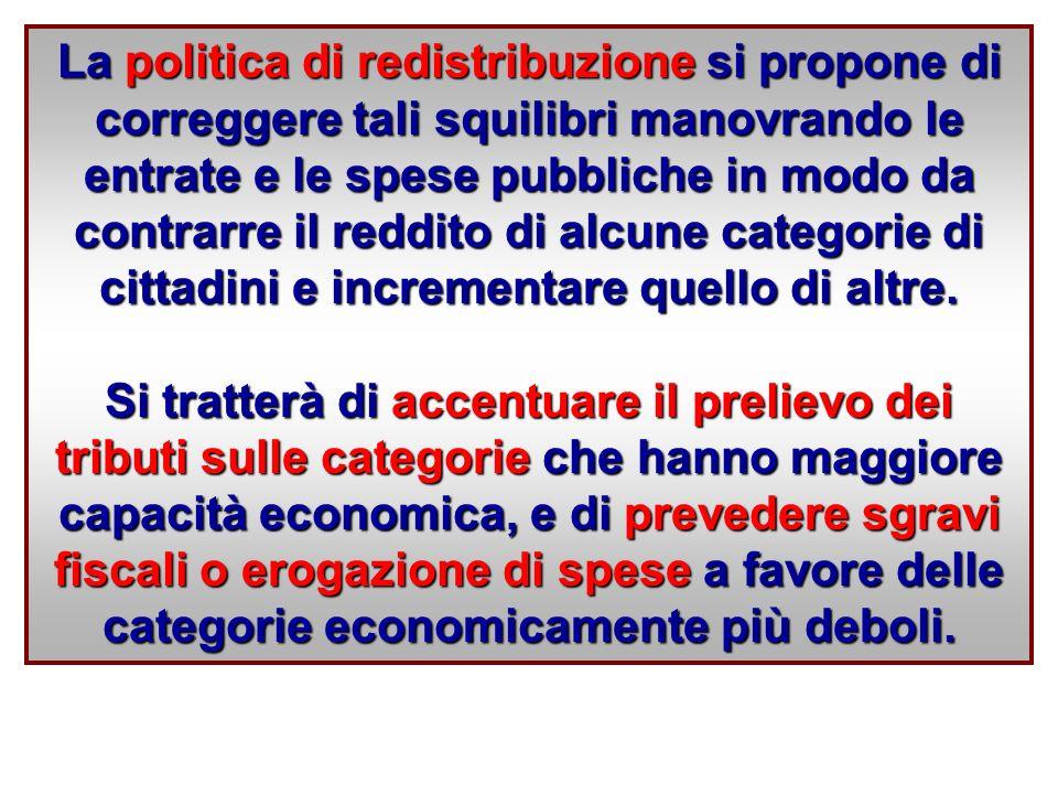 La politica di redistribuzione si propone di correggere tali squilibri manovrando le entrate e le spese pubbliche in modo da contrarre il reddito di alcune categorie di cittadini e incrementare quello di altre.