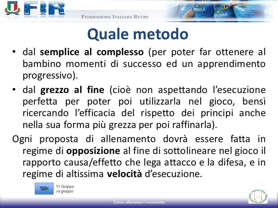Quale metodo dal semplice al complesso (per poter far ottenere al bambino momenti di successo ed un apprendimento progressivo).