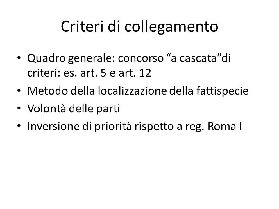 Criteri di collegamento Quadro generale: concorso a cascata di criteri: es.