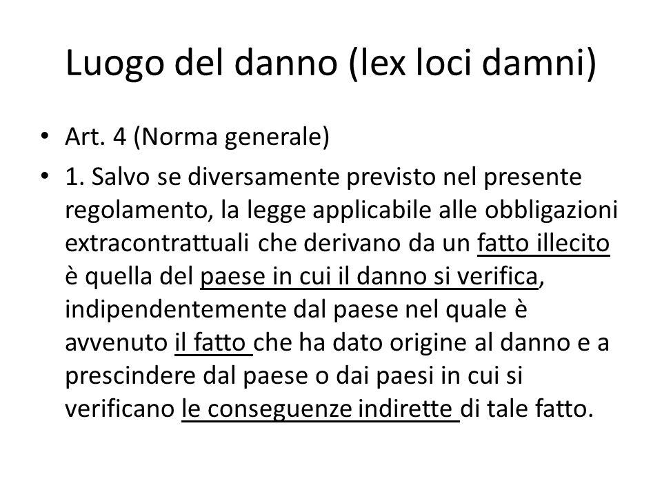 Luogo del danno (lex loci damni) Art. 4 (Norma generale) 1.