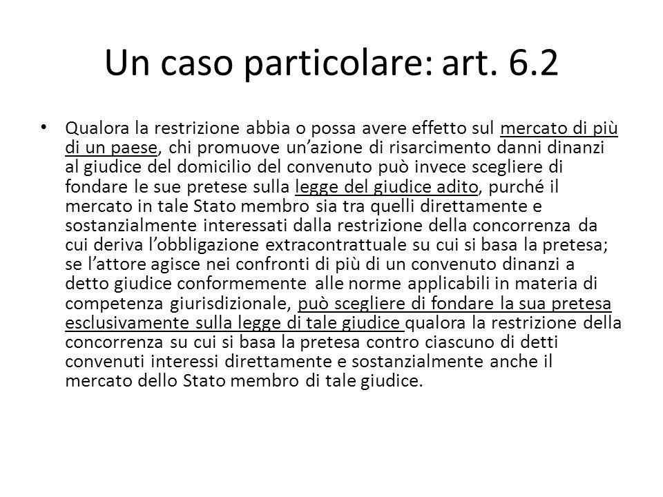 Un caso particolare: art. 6.2 Qualora la restrizione abbia o possa avere effetto sul mercato di più di un paese, chi promuove un'azione di risarciment