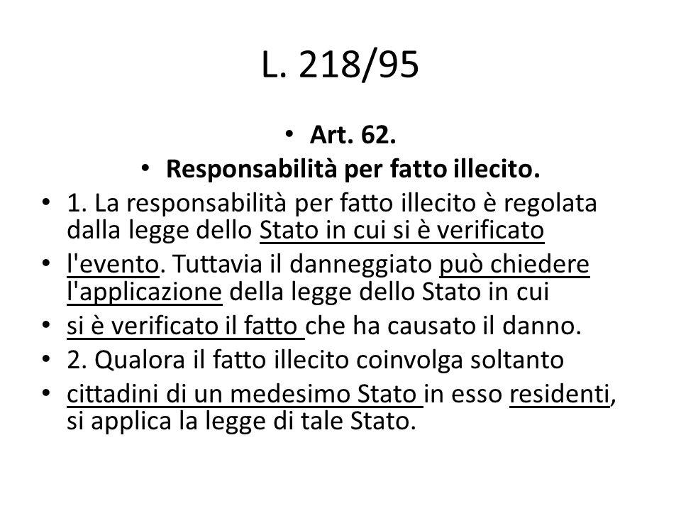 L. 218/95 Art. 62. Responsabilità per fatto illecito.