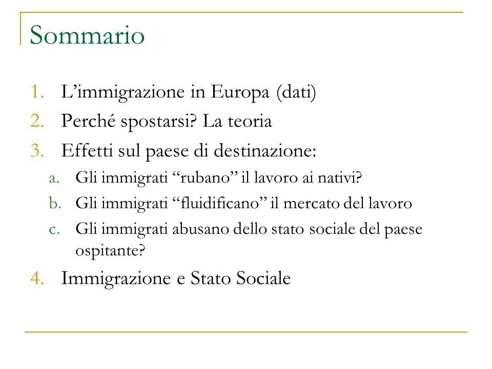"""Sommario 1.L'immigrazione in Europa (dati) 2.Perché spostarsi? La teoria 3.Effetti sul paese di destinazione: a.Gli immigrati """"rubano"""" il lavoro ai na"""
