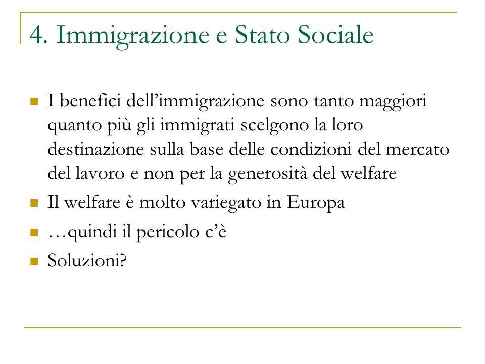 4. Immigrazione e Stato Sociale I benefici dell'immigrazione sono tanto maggiori quanto più gli immigrati scelgono la loro destinazione sulla base del