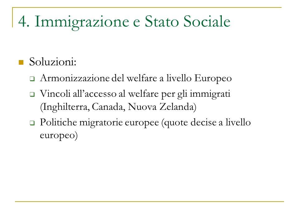 4. Immigrazione e Stato Sociale Soluzioni:  Armonizzazione del welfare a livello Europeo  Vincoli all'accesso al welfare per gli immigrati (Inghilte