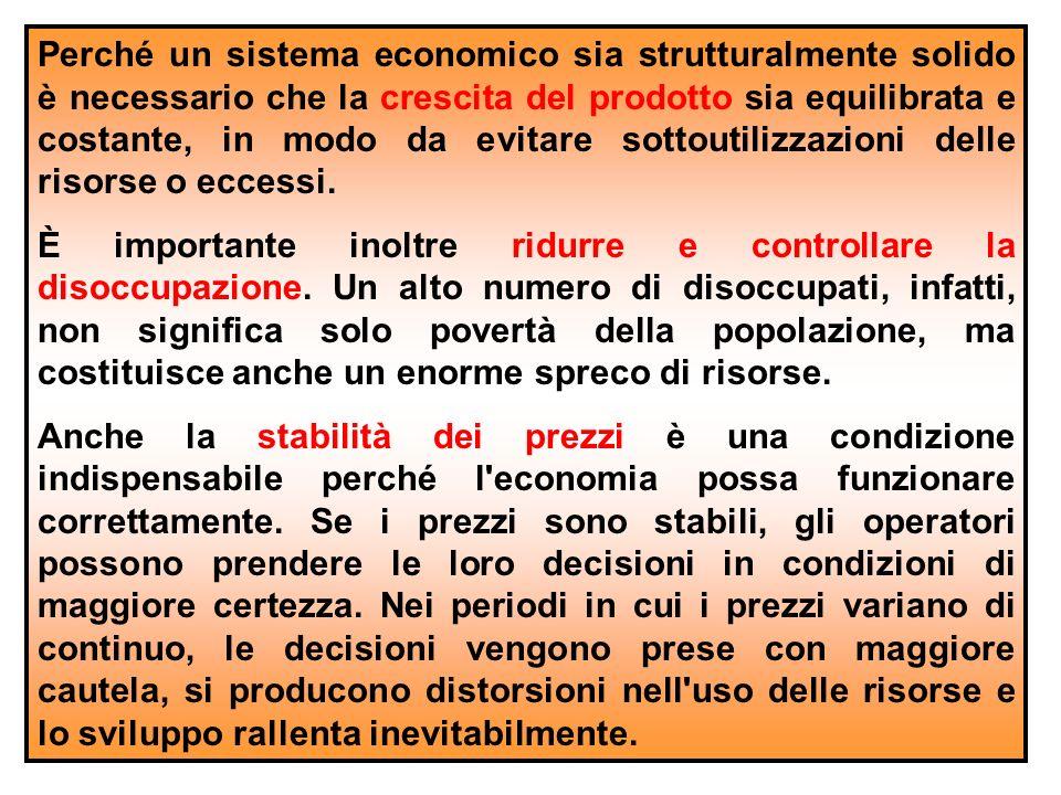 Perché un sistema economico sia strutturalmente solido è necessario che la crescita del prodotto sia equilibrata e costante, in modo da evitare sottoutilizzazioni delle risorse o eccessi.