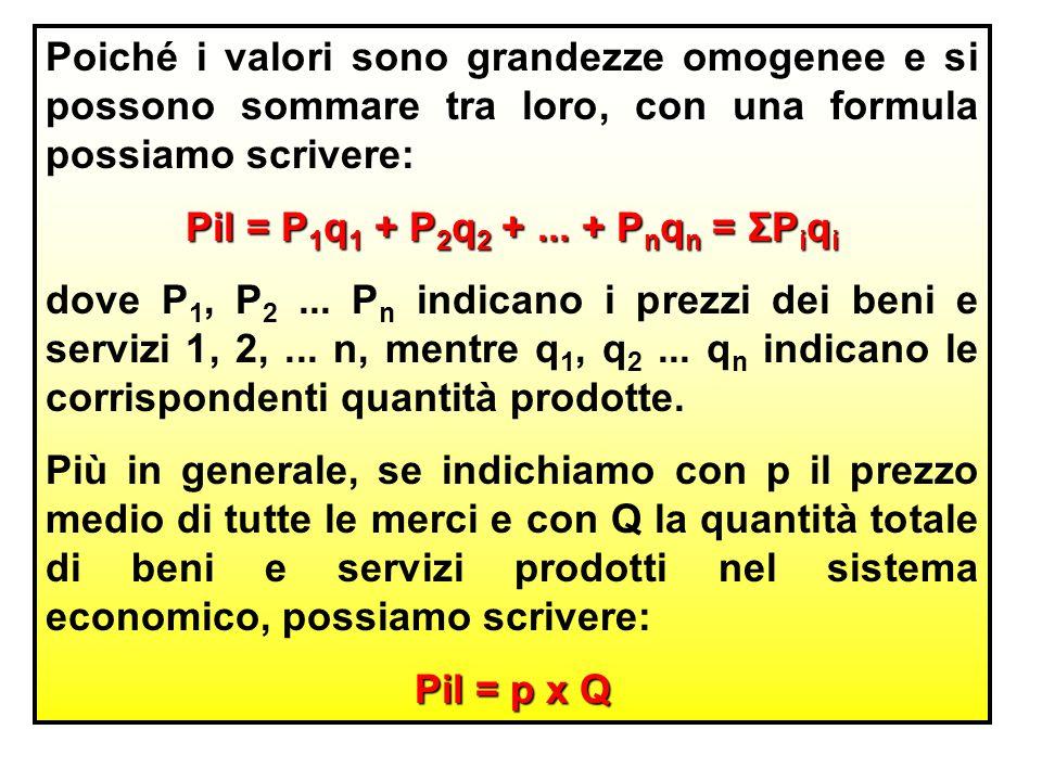 Poiché i valori sono grandezze omogenee e si possono sommare tra loro, con una formula possiamo scrivere: Pil = P 1 q 1 + P 2 q 2 +...