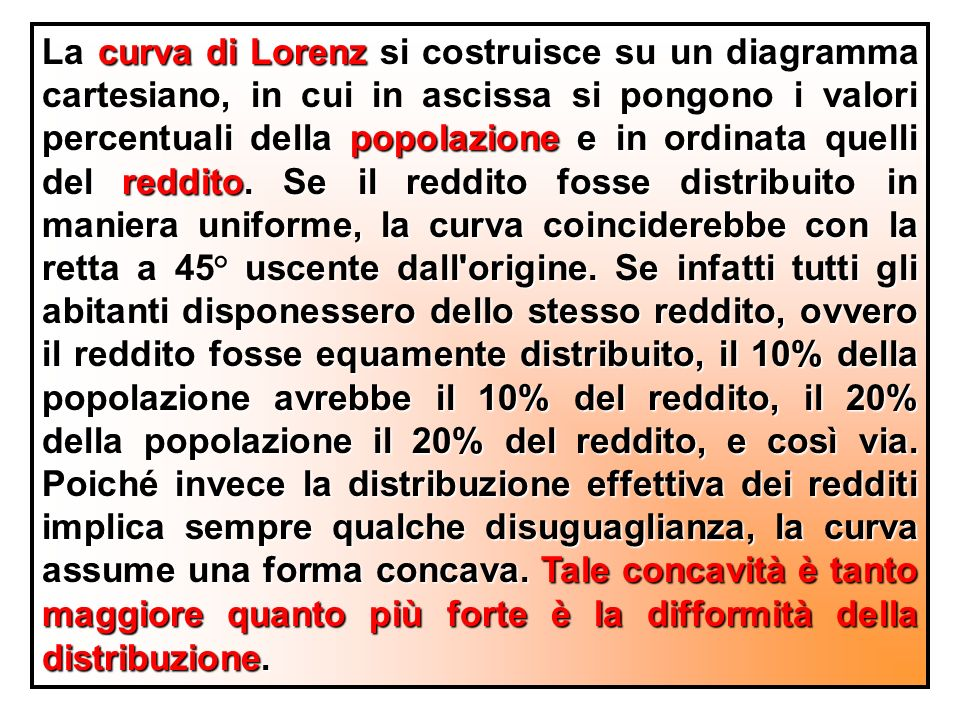 La curva di Lorenz si costruisce su un diagramma cartesiano, in cui in ascissa si pongono i valori percentuali della popolazione e in ordinata quelli del reddito.