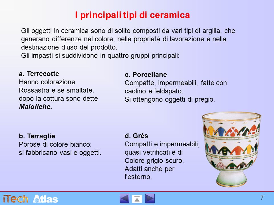 Gli oggetti in ceramica sono di solito composti da vari tipi di argilla, che generano differenze nel colore, nelle proprietà di lavorazione e nella destinazione d'uso del prodotto.