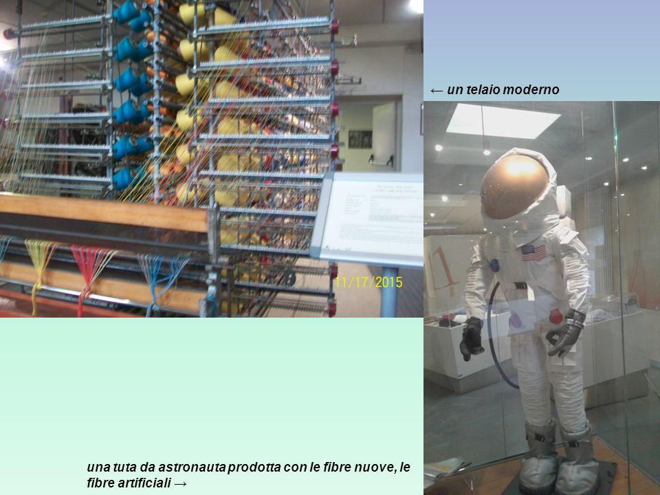 una tuta da astronauta prodotta con le fibre nuove, le fibre artificiali → ← un telaio moderno