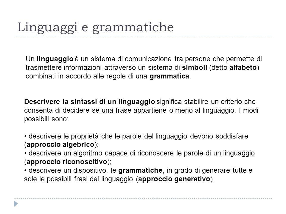 Linguaggi e grammatiche Un linguaggio è un sistema di comunicazione tra persone che permette di trasmettere informazioni attraverso un sistema di simboli (detto alfabeto) combinati in accordo alle regole di una grammatica.