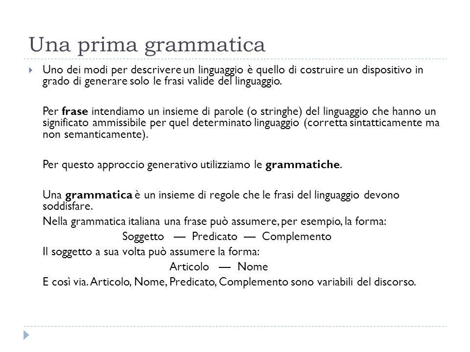 Una prima grammatica  Uno dei modi per descrivere un linguaggio è quello di costruire un dispositivo in grado di generare solo le frasi valide del linguaggio.