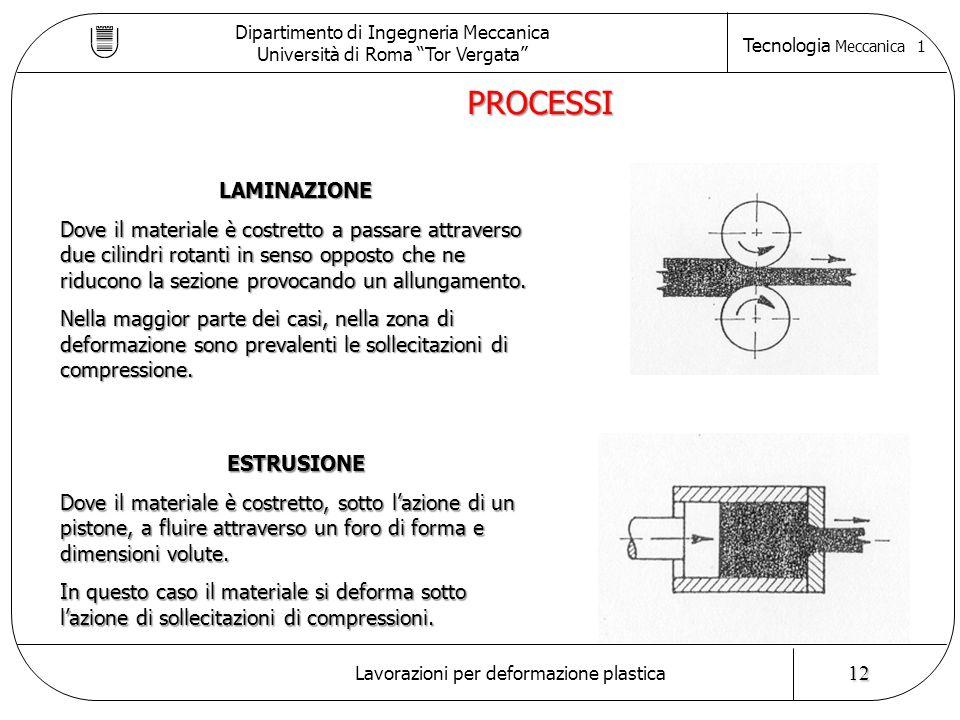 Dipartimento di Ingegneria Meccanica Università di Roma Tor Vergata Tecnologia Meccanica 1 Lavorazioni per deformazione plastica 12 LAMINAZIONE Dove il materiale è costretto a passare attraverso due cilindri rotanti in senso opposto che ne riducono la sezione provocando un allungamento.