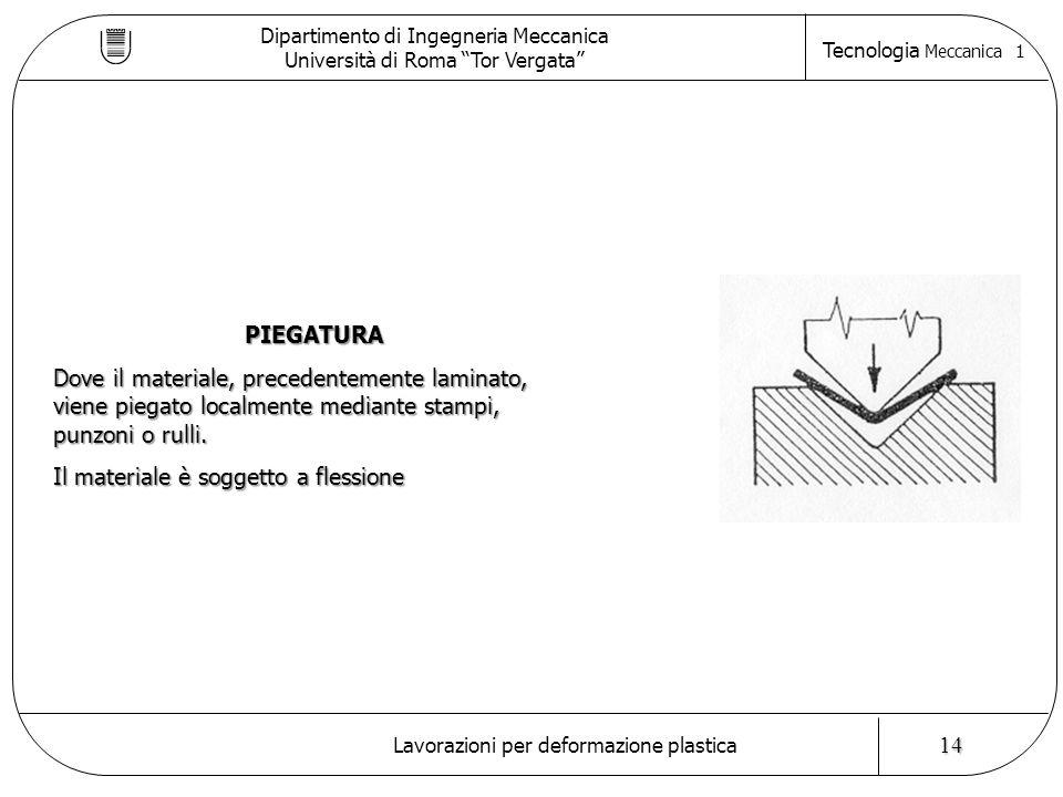 Dipartimento di Ingegneria Meccanica Università di Roma Tor Vergata Tecnologia Meccanica 1 Lavorazioni per deformazione plastica 14 PIEGATURA Dove il materiale, precedentemente laminato, viene piegato localmente mediante stampi, punzoni o rulli.