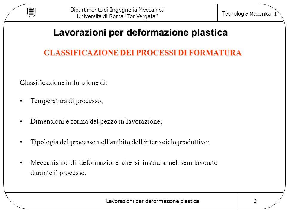 CLASSIFICAZIONE IN FUNZIONE DELLA TEMPERATURA DI PROCESSO Dipartimento di Ingegneria Meccanica Università di Roma Tor Vergata Tecnologia Meccanica 1 Lavorazioni per deformazione plastica I processi di formatura possono essere distinti confrontando la temperatura alla quale vengono eseguiti con la temperatura di ricristallizzazione (  0,5*Tf ) Processi a freddo Processi a caldo T 0,5*Tf generalmente: 0,7 Tf < T < 0,9 Tf 3 N.B.