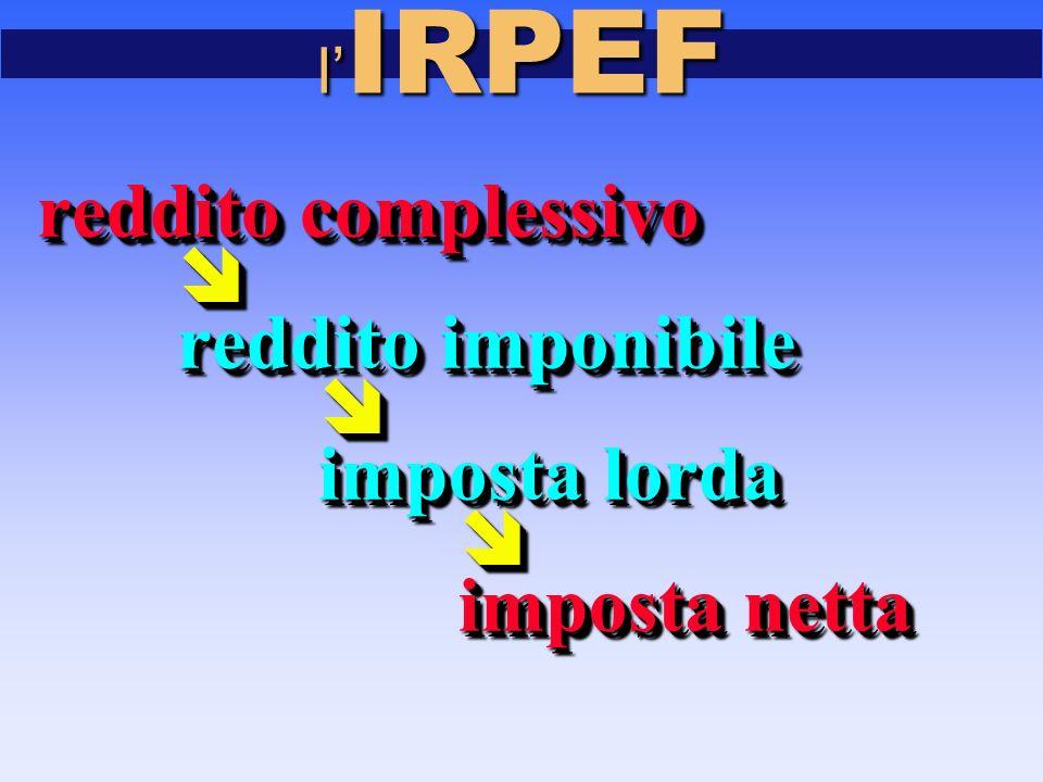 l' IRPEF reddito complessivo  reddito imponibile reddito imponibile  imposta lorda imposta lorda  imposta netta imposta netta reddito complessivo  reddito imponibile reddito imponibile  imposta lorda imposta lorda  imposta netta imposta netta