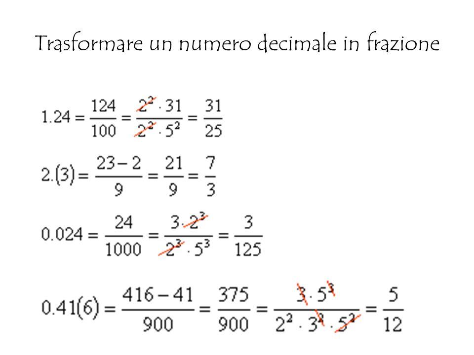 Trasformare un numero decimale in frazione