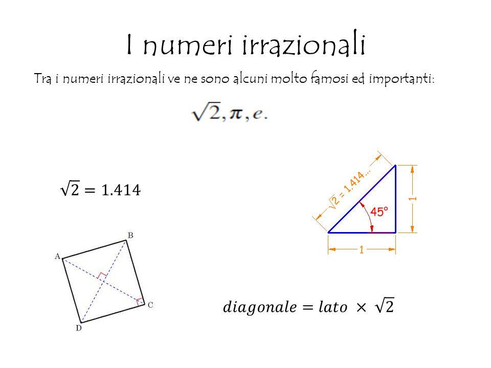 I numeri irrazionali Tra i numeri irrazionali ve ne sono alcuni molto famosi ed importanti: