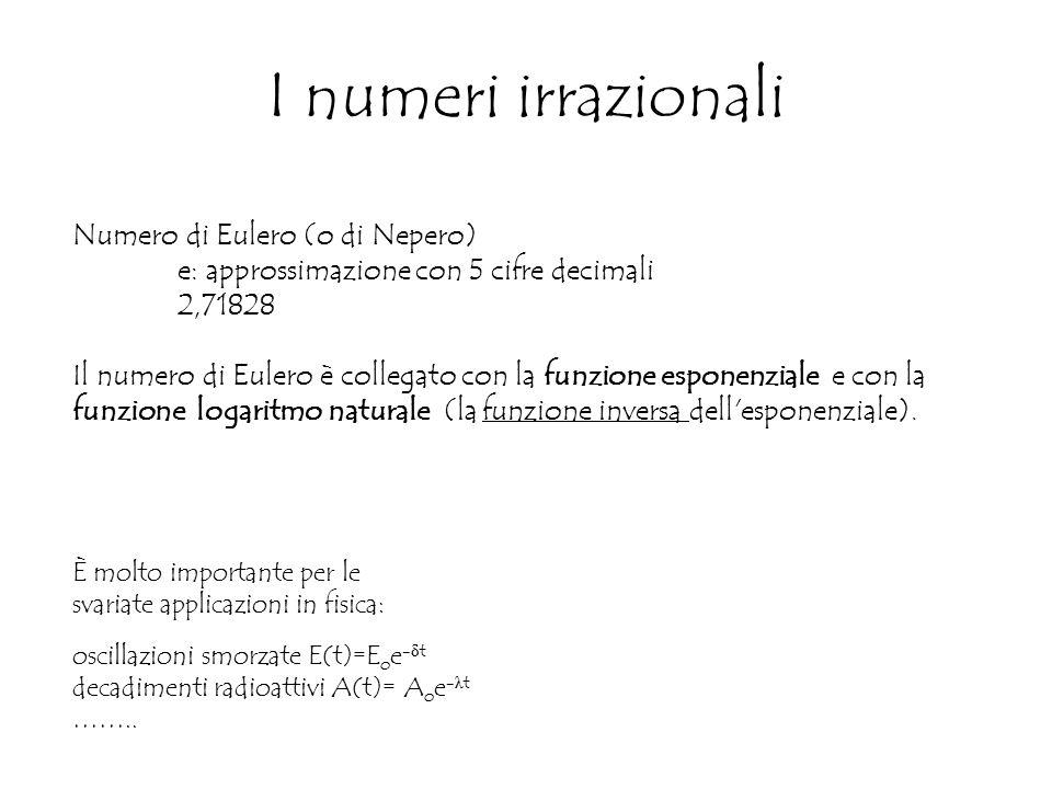 I numeri irrazionali Numero di Eulero (o di Nepero) e: approssimazione con 5 cifre decimali 2,71828 Il numero di Eulero è collegato con la funzione esponenziale e con la funzione logaritmo naturale (la funzione inversa dell esponenziale).