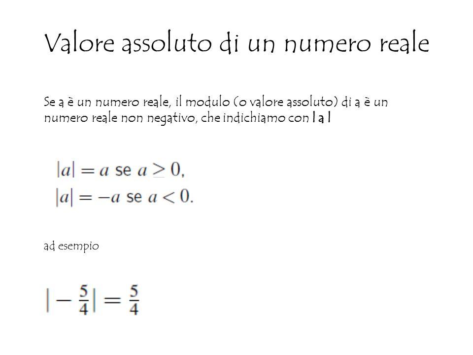 Valore assoluto di un numero reale Se a è un numero reale, il modulo (o valore assoluto) di a è un numero reale non negativo, che indichiamo con   a   ad esempio