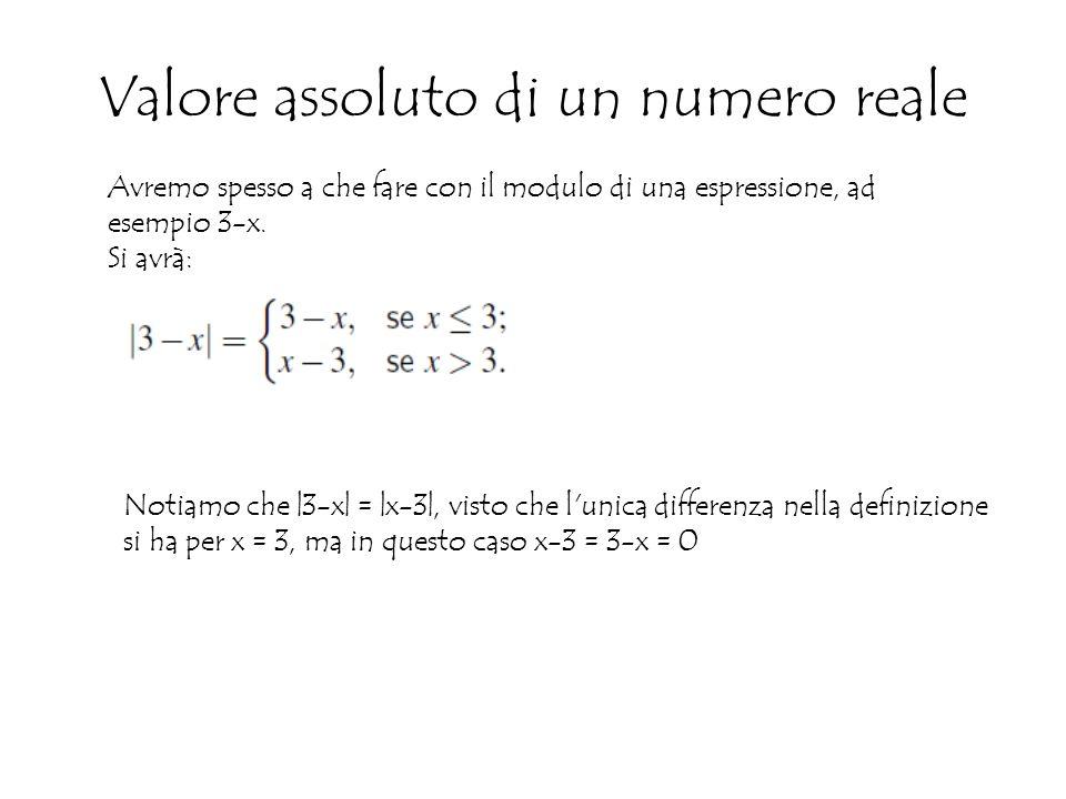 Valore assoluto di un numero reale Avremo spesso a che fare con il modulo di una espressione, ad esempio 3-x.