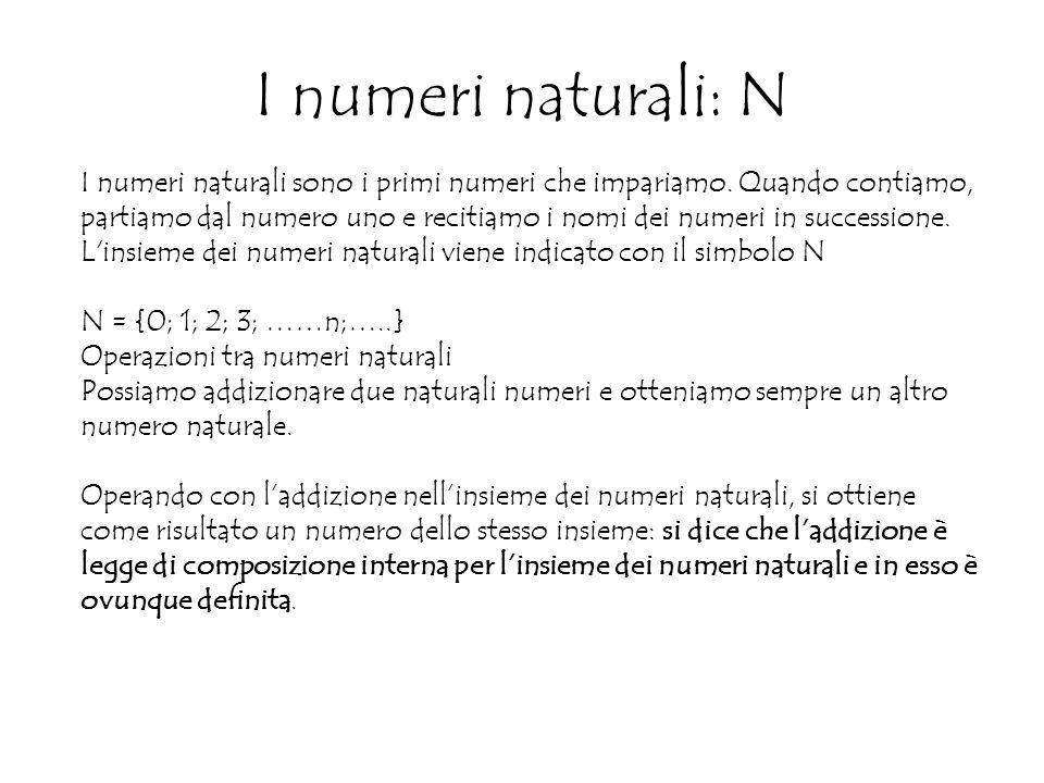 I numeri naturali: N I numeri naturali sono i primi numeri che impariamo.