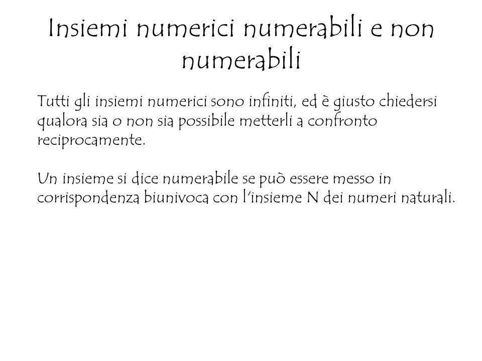 Insiemi numerici numerabili e non numerabili Tutti gli insiemi numerici sono infiniti, ed è giusto chiedersi qualora sia o non sia possibile metterli a confronto reciprocamente.