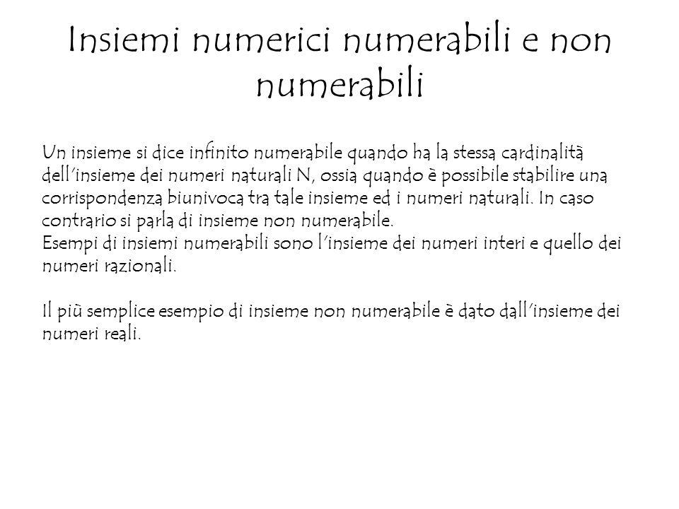Insiemi numerici numerabili e non numerabili Un insieme si dice infinito numerabile quando ha la stessa cardinalità dell insieme dei numeri naturali N, ossia quando è possibile stabilire una corrispondenza biunivoca tra tale insieme ed i numeri naturali.