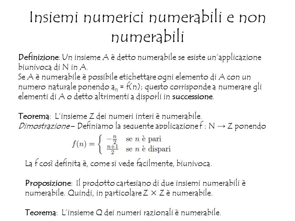 Insiemi numerici numerabili e non numerabili Definizione: Un insieme A è detto numerabile se esiste un'applicazione biunivoca di N in A.