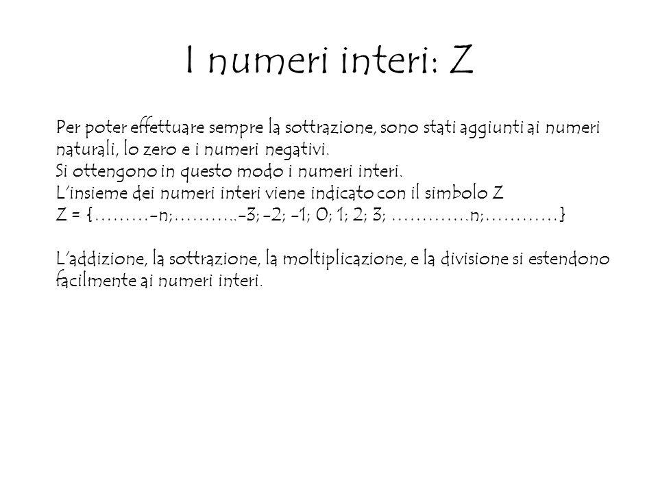 I numeri interi: Z Per poter effettuare sempre la sottrazione, sono stati aggiunti ai numeri naturali, lo zero e i numeri negativi.