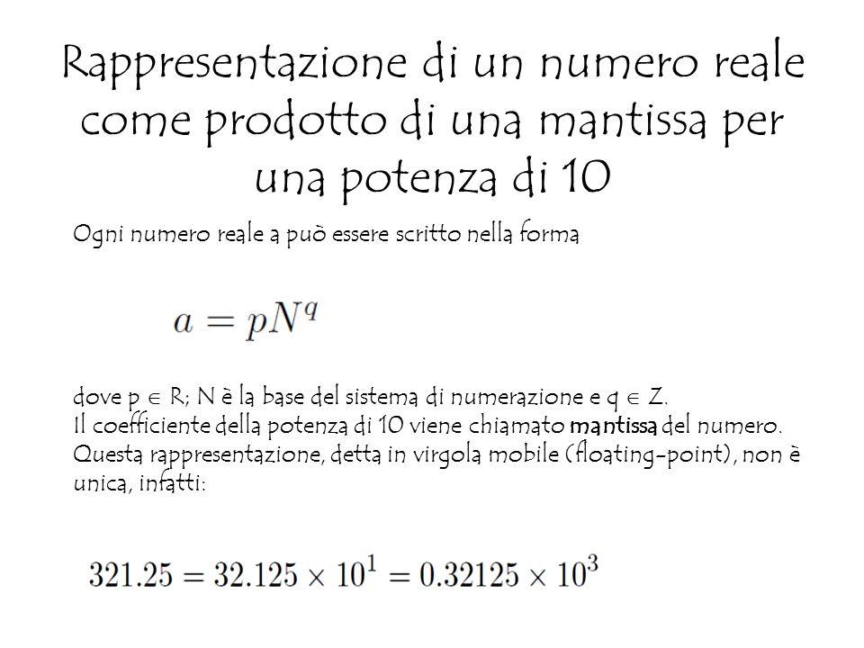 Rappresentazione di un numero reale come prodotto di una mantissa per una potenza di 10 Ogni numero reale a può essere scritto nella forma dove p  R; N è la base del sistema di numerazione e q  Z.