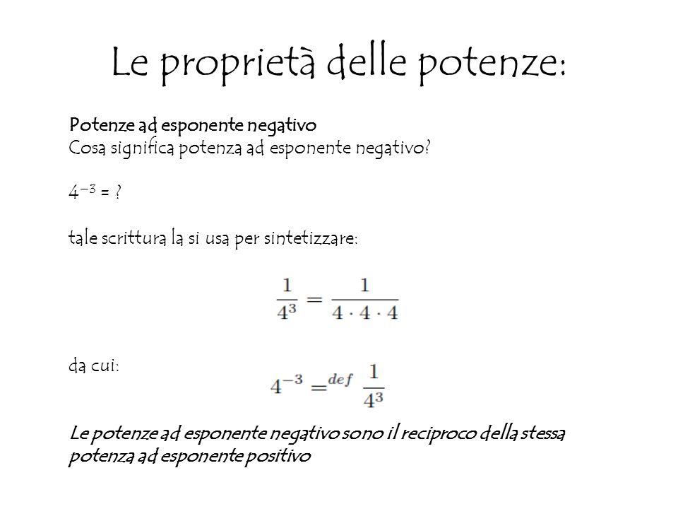 Le proprietà delle potenze: Potenze ad esponente negativo Cosa significa potenza ad esponente negativo.
