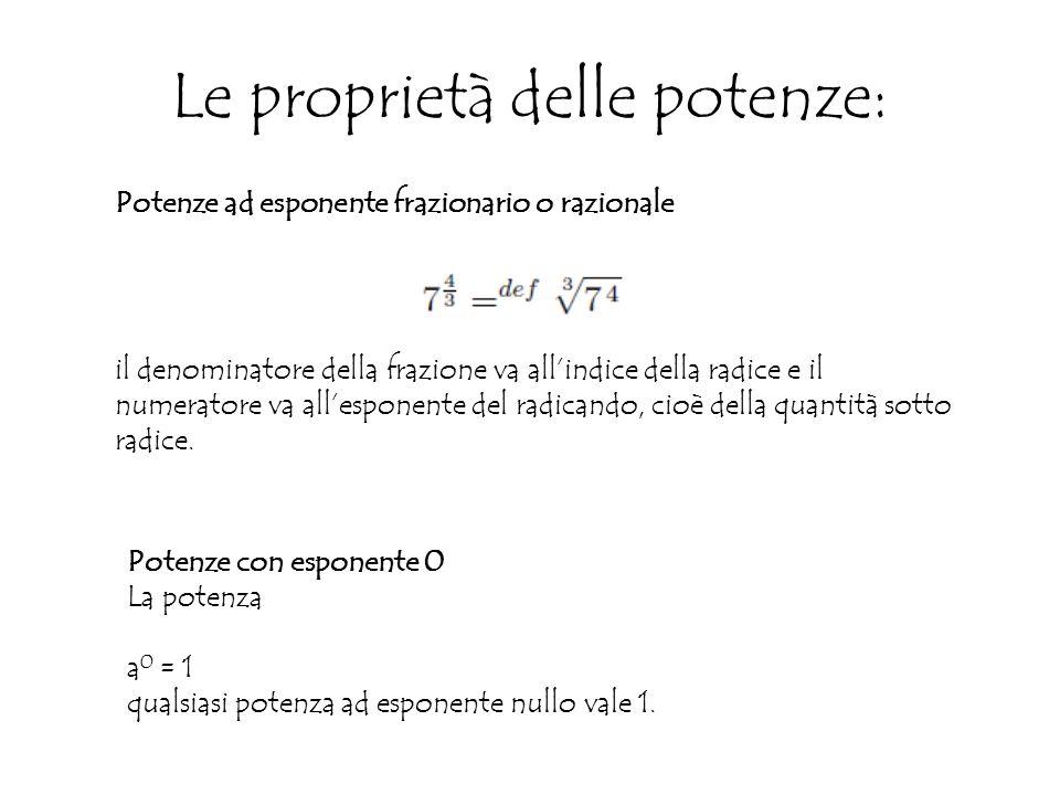 Le proprietà delle potenze: Potenze ad esponente frazionario o razionale il denominatore della frazione va all'indice della radice e il numeratore va all'esponente del radicando, cioè della quantità sotto radice.
