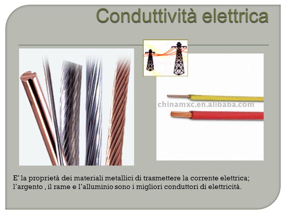 E' la proprietà dei materiali metallici di trasmettere la corrente elettrica; l'argento, il rame e l'alluminio sono i migliori conduttori di elettricità.
