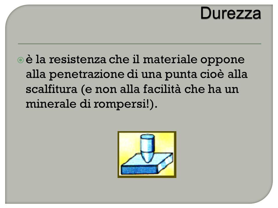  è la resistenza che il materiale oppone alla penetrazione di una punta cioè alla scalfitura (e non alla facilità che ha un minerale di rompersi!).
