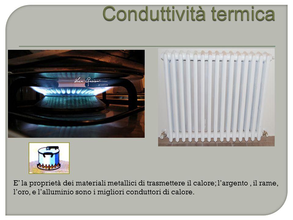 E' la proprietà dei materiali metallici di trasmettere il calore; l'argento, il rame, l'oro, e l'alluminio sono i migliori conduttori di calore.