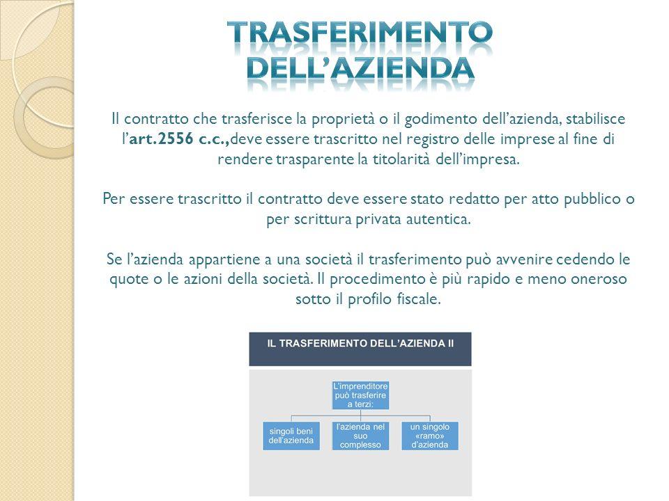 Il contratto che trasferisce la proprietà o il godimento dell'azienda, stabilisce l'art.2556 c.c.,deve essere trascritto nel registro delle imprese al fine di rendere trasparente la titolarità dell'impresa.
