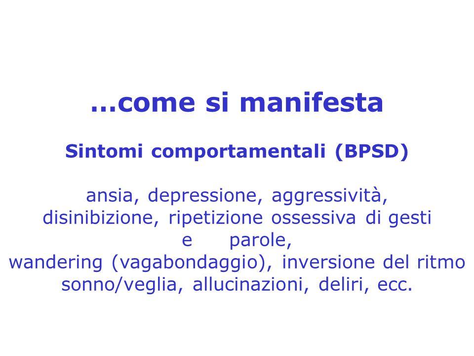 …come si manifesta Sintomi comportamentali (BPSD) ansia, depressione, aggressività, disinibizione, ripetizione ossessiva di gesti e parole, wandering (vagabondaggio), inversione del ritmo sonno/veglia, allucinazioni, deliri, ecc.