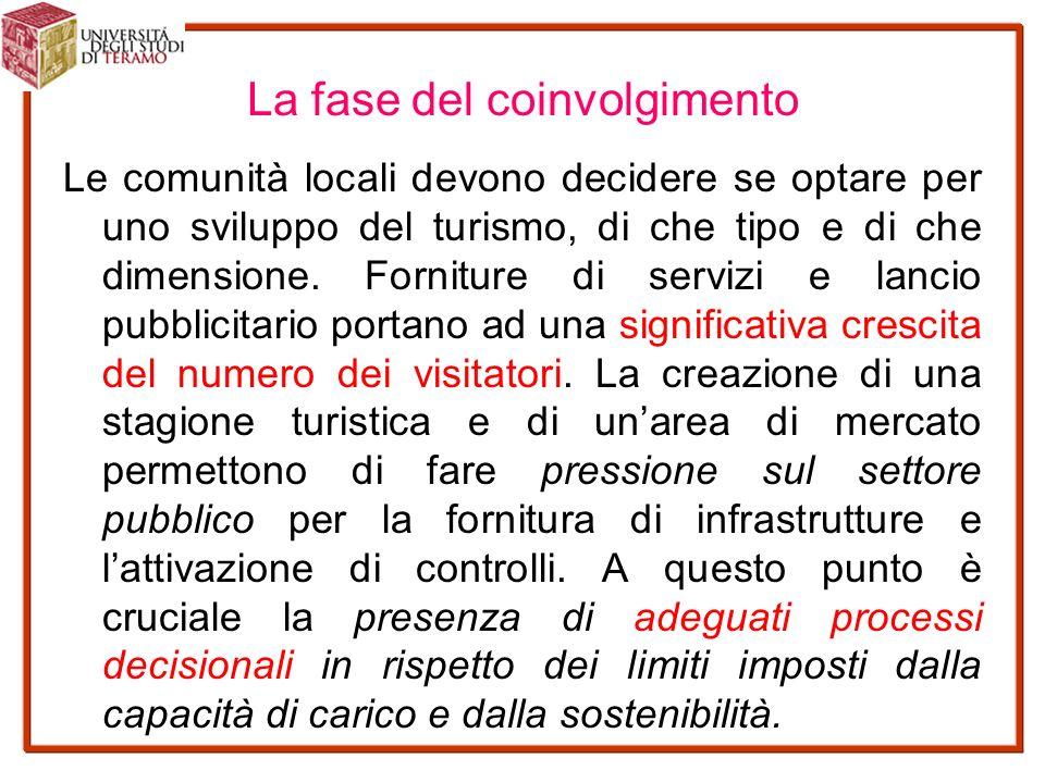 La fase del coinvolgimento Le comunità locali devono decidere se optare per uno sviluppo del turismo, di che tipo e di che dimensione.