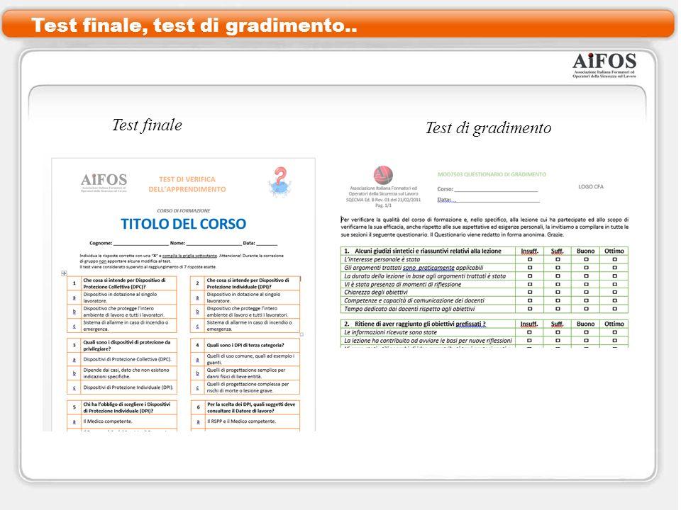 Test finale, test di gradimento.. Test finale Test di gradimento