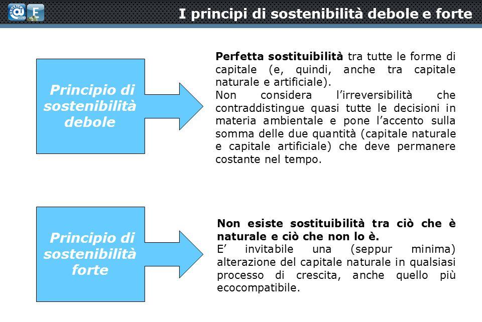 I principi di sostenibilità debole e forte Perfetta sostituibilità tra tutte le forme di capitale (e, quindi, anche tra capitale naturale e artificiale).
