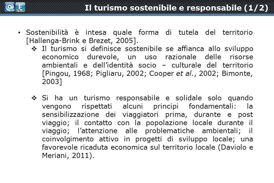 Il turismo sostenibile e responsabile (1/2) Sostenibilità è intesa quale forma di tutela del territorio [Hallenga-Brink e Brezet, 2005].