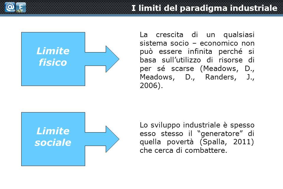 I limiti del paradigma industriale La crescita di un qualsiasi sistema socio – economico non può essere infinita perché si basa sull'utilizzo di risorse di per sé scarse (Meadows, D., Meadows, D., Randers, J., 2006).
