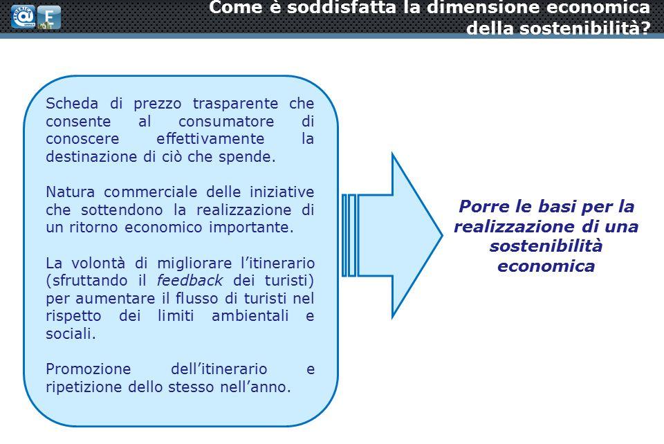 Come è soddisfatta la dimensione economica della sostenibilità.