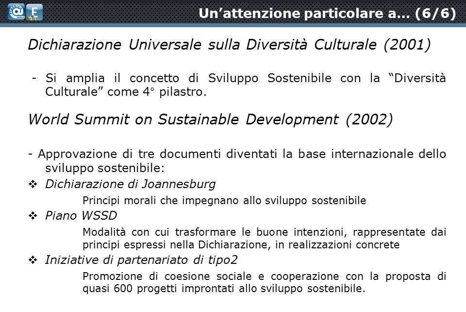 Un'attenzione particolare a… (6/6) Dichiarazione Universale sulla Diversità Culturale (2001) - Si amplia il concetto di Sviluppo Sostenibile con la Diversità Culturale come 4° pilastro.