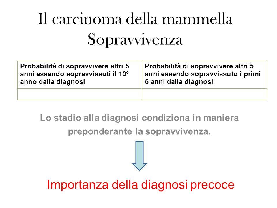 Il carcinoma della mammella Sopravvivenza Lo stadio alla diagnosi condiziona in maniera preponderante la sopravvivenza.