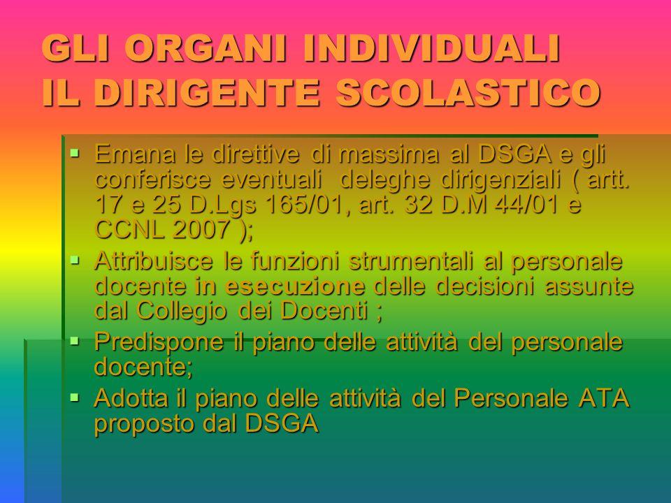 GLI ORGANI INDIVIDUALI IL DIRIGENTE SCOLASTICO  Emana le direttive di massima al DSGA e gli conferisce eventuali deleghe dirigenziali ( artt.